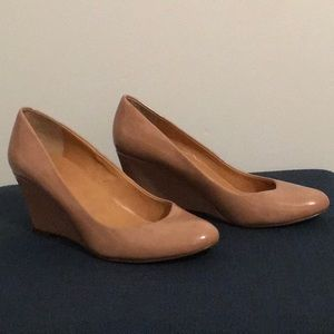 J Crew pink patent leather wedges